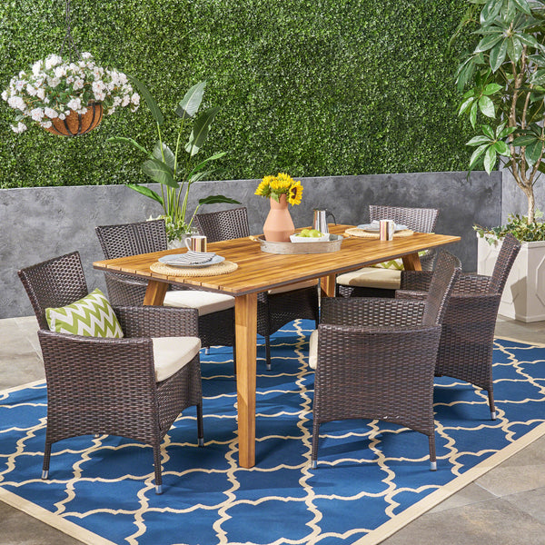 Ella Outdoor 7 Piece Acacia Wood Dining Set with Wicker Chairs, Teak and Multi Brown and Beige
