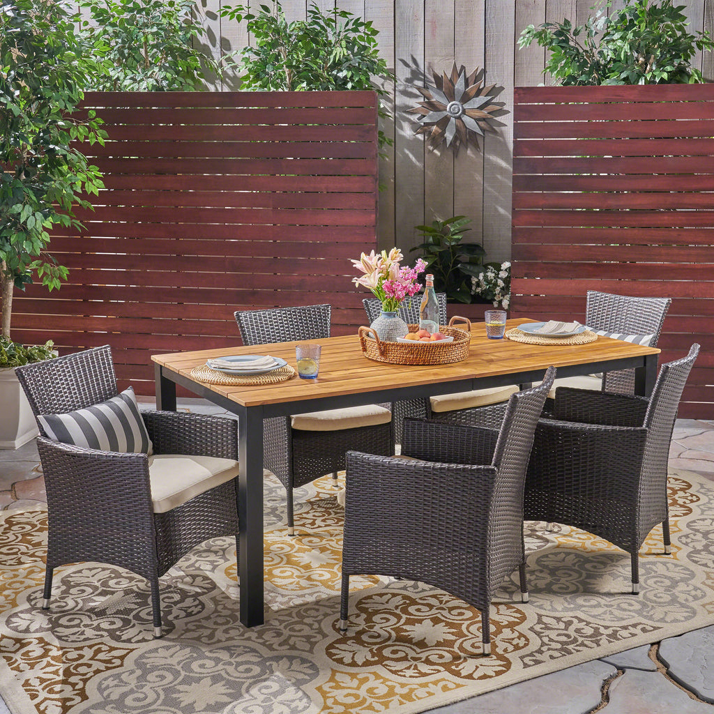 Strange Teresa Outdoor 7 Piece Acacia Wood Dining Set With Wicker Chairs Teak And Multi Brown And Beige Pabps2019 Chair Design Images Pabps2019Com