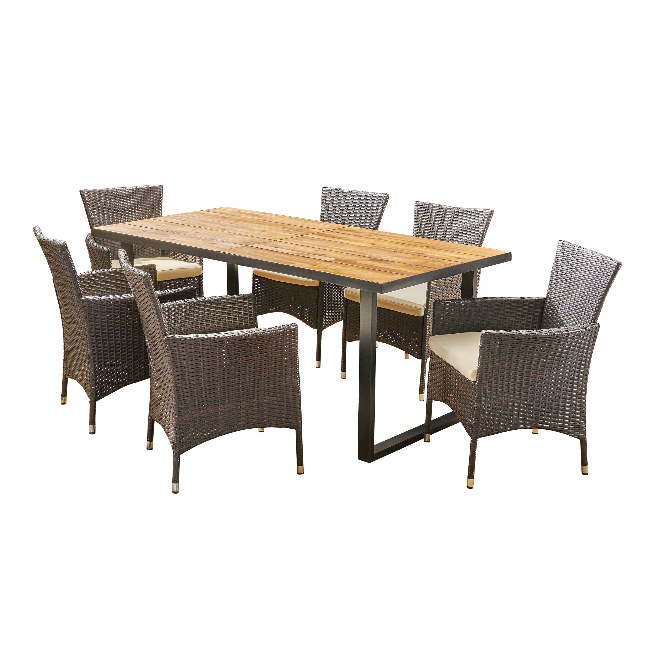 Acosta Outdoor 6 Seater Rectangular Acacia Wood and Wicker Dining Set Teak with Black and Multi Brown with Beige Default Title