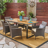 Belle Outdoor 6-Seater Rectangular Acacia Wood and Wicker Dining Set, Teak with Black and Multi Brown with Beige