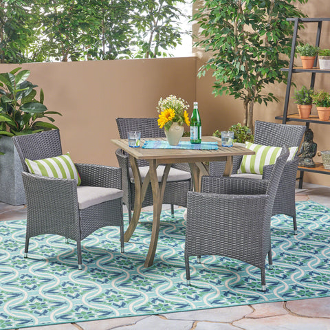 Arthur Outdoor 5 Piece Wood and Wicker Square Dining Set, Gray and Gray
