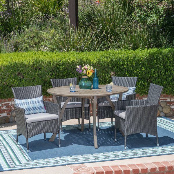 Valena Outdoor 5 Piece Acacia Wood and Wicker Dining Set