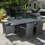 Macalla Outdoor 7-Piece Gray Wicker Dining Set with Light Gray Cushions