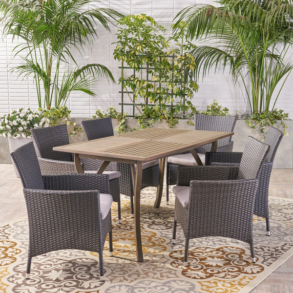 Carl Outdoor 7 Piece Wood and Wicker Dining Set