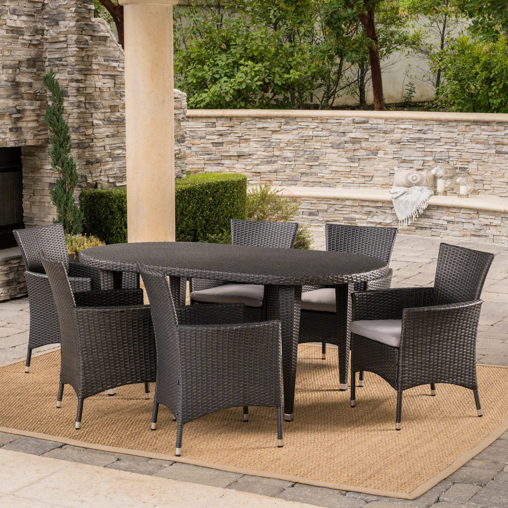 Vineland Outdoor 7 Piece Gray Wicker Oval Dining Set with Silver Water Resistant Cushions