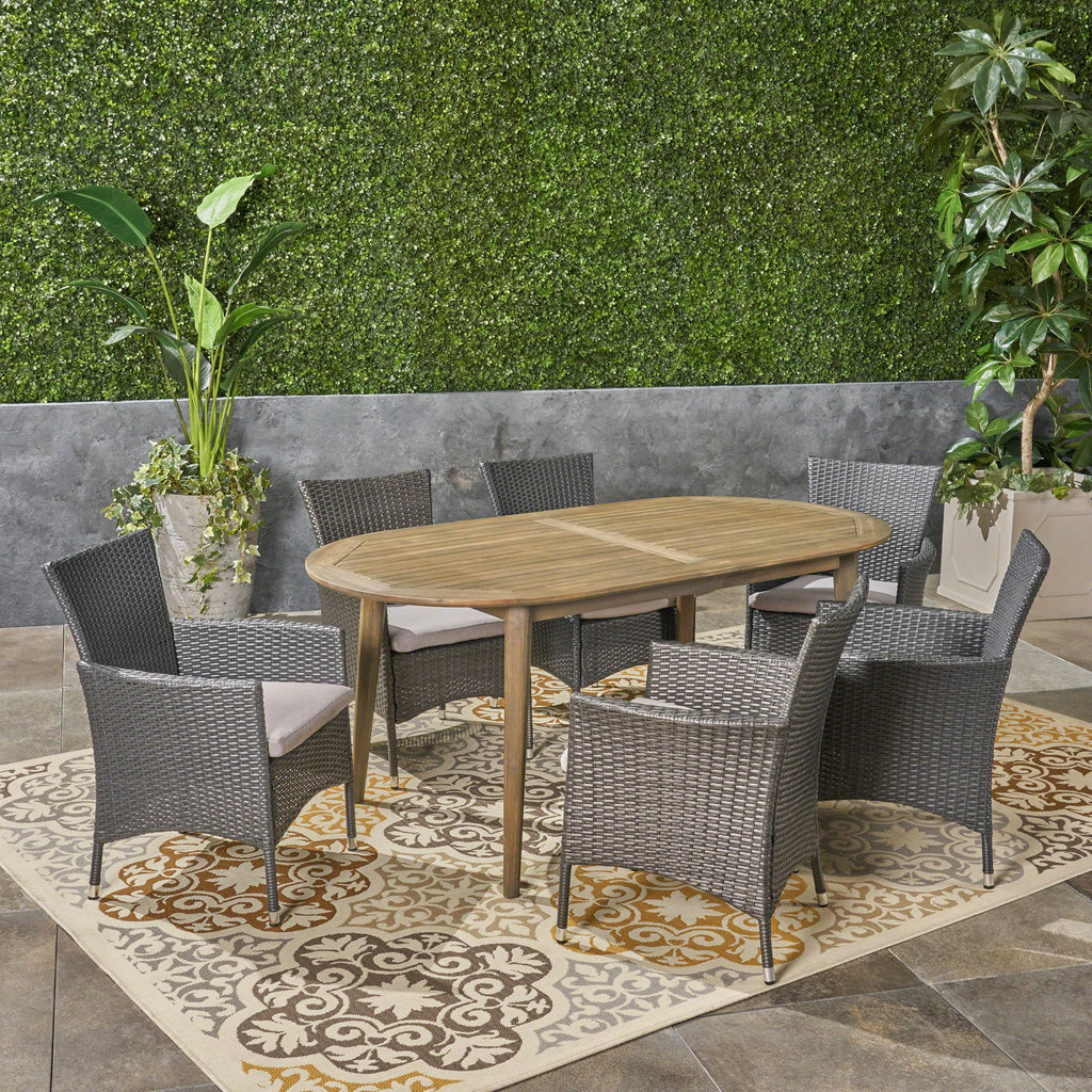 Stanford Outdoor 7-Piece Acacia Wood Dining Set with Wicker Chairs and Cushions