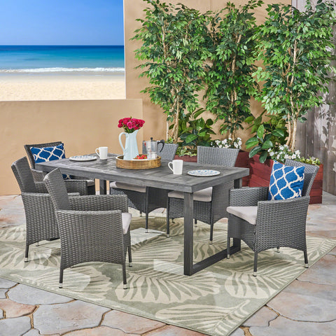 Agnes Outdoor 6-Seater Acacia Wood Dining Set with Wicker Chairs, Sandblast Dark Gray Finish and Gray and Silver