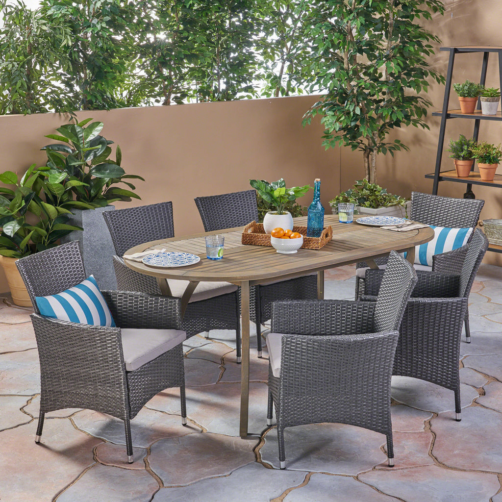 Dahl outdoor 7 piece wood and wicker dining set gray finish and gray gdf studio