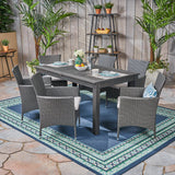 Austin Outdoor Wood and Wicker Expandable Dining Set
