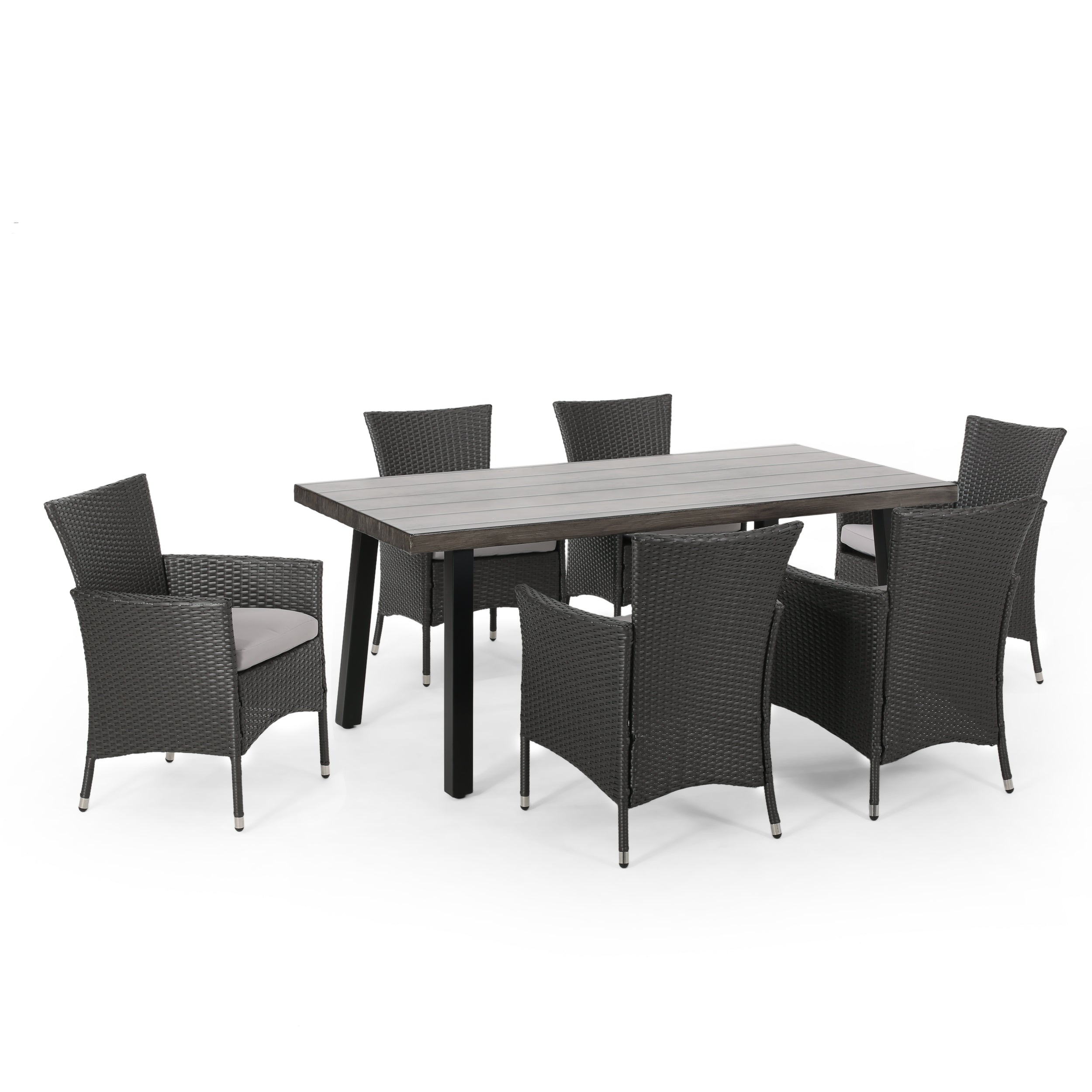 Altair Outdoor 7 Piece Aluminum Dining Set with Wicker Chairs Default Title