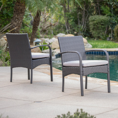 El Capitan Outdoor Grey Wicker Dining Chairs With Cushions (Set Of 2)