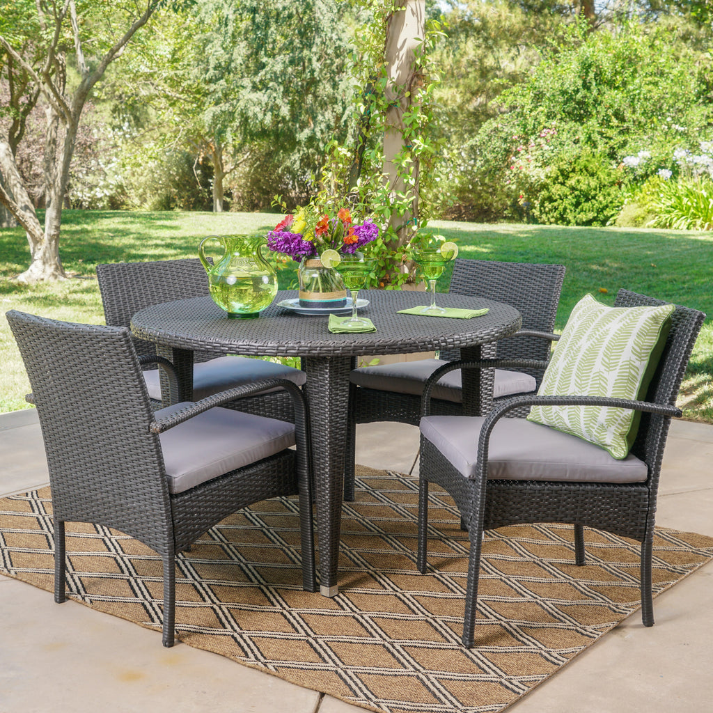 Maloa Outdoor 5 Piece Wicker Circular Dining Set with Water Resistant Cushions