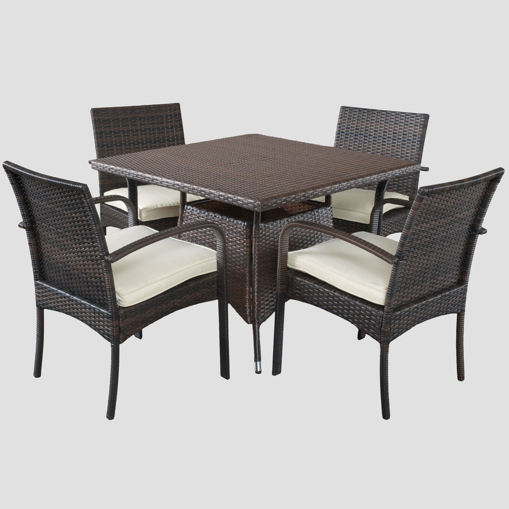 Carmela Outdoor 5pc Multibrown PE Wicker Square Dining Set