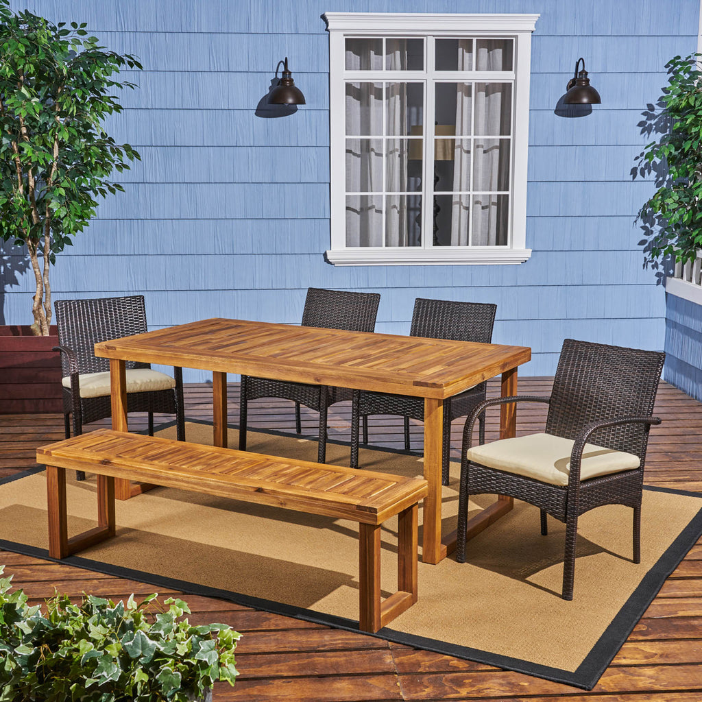 Stonecrest Outdoor 6-Seater Wood and Wicker Chair and Bench Dining Set