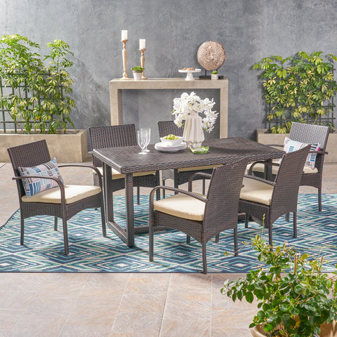 Acker Outdoor 7 Piece Wicker Dining Set