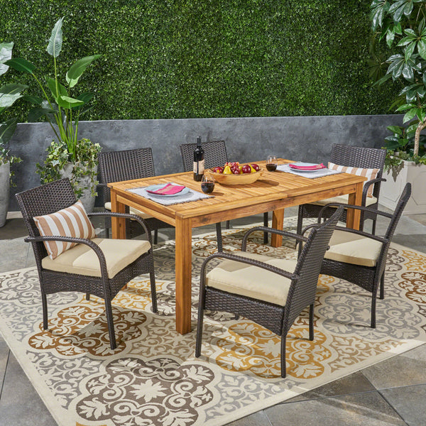 Elis Outdoor 7 Piece Wood and Wicker Expandable Dining Set