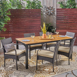 Nicole Outdoor 7 Piece Acacia Wood Dining Set with Wicker Chairs, Teak and Multi Brown and Cream