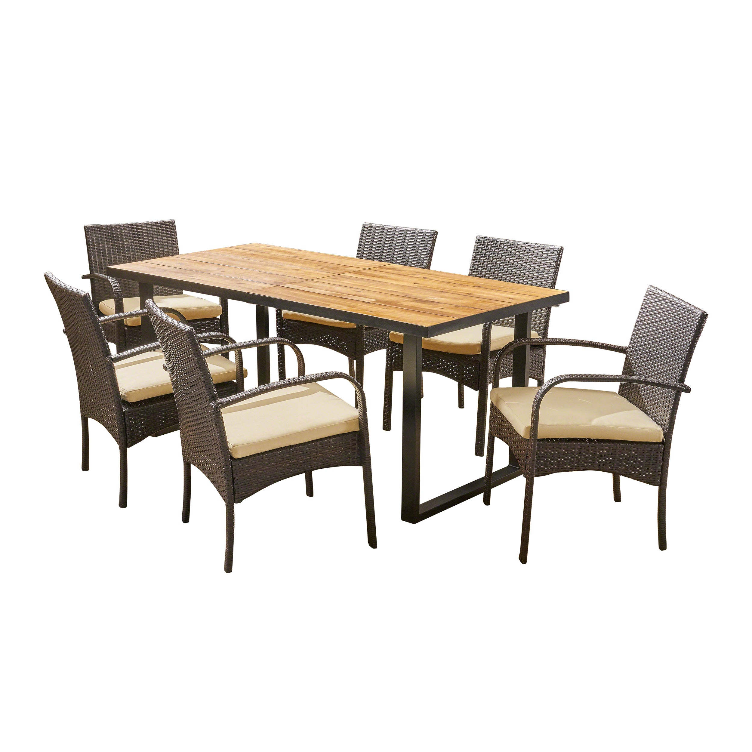Amenda Outdoor 6 Seater Rectangular Acacia Wood and Wicker Dining Set Teak with Black and Multi Brown with Cream Default Title