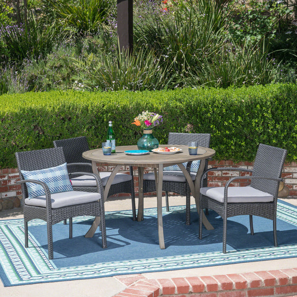 Jaden Outdoor 5 Piece Acacia Wood and Wicker Dining Set