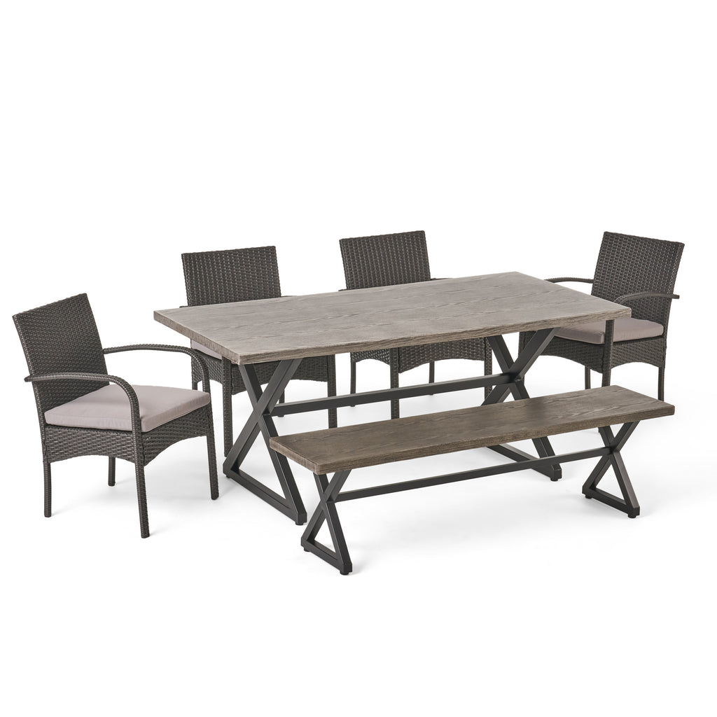 Sicily Outdoor 6 Piece Gray Aluminum Dining Set with Bench and Gray Wicker Dining Chairs