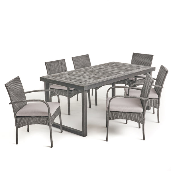 Doris Outdoor 6-Seater Acacia Wood Dining Set with Wicker Chairs, Sandblast Dark Gray Finish and Gray
