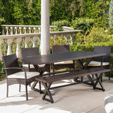 Palladium Outdoor 6 Piece Brown Aluminum Dining Set with Bench and Wicker Dining Chairs