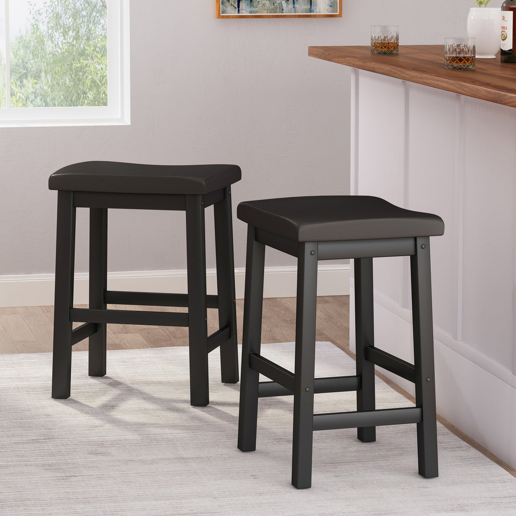 Marcy Black Saddle Wood 24-Inch Counter Stool (Set of 2)