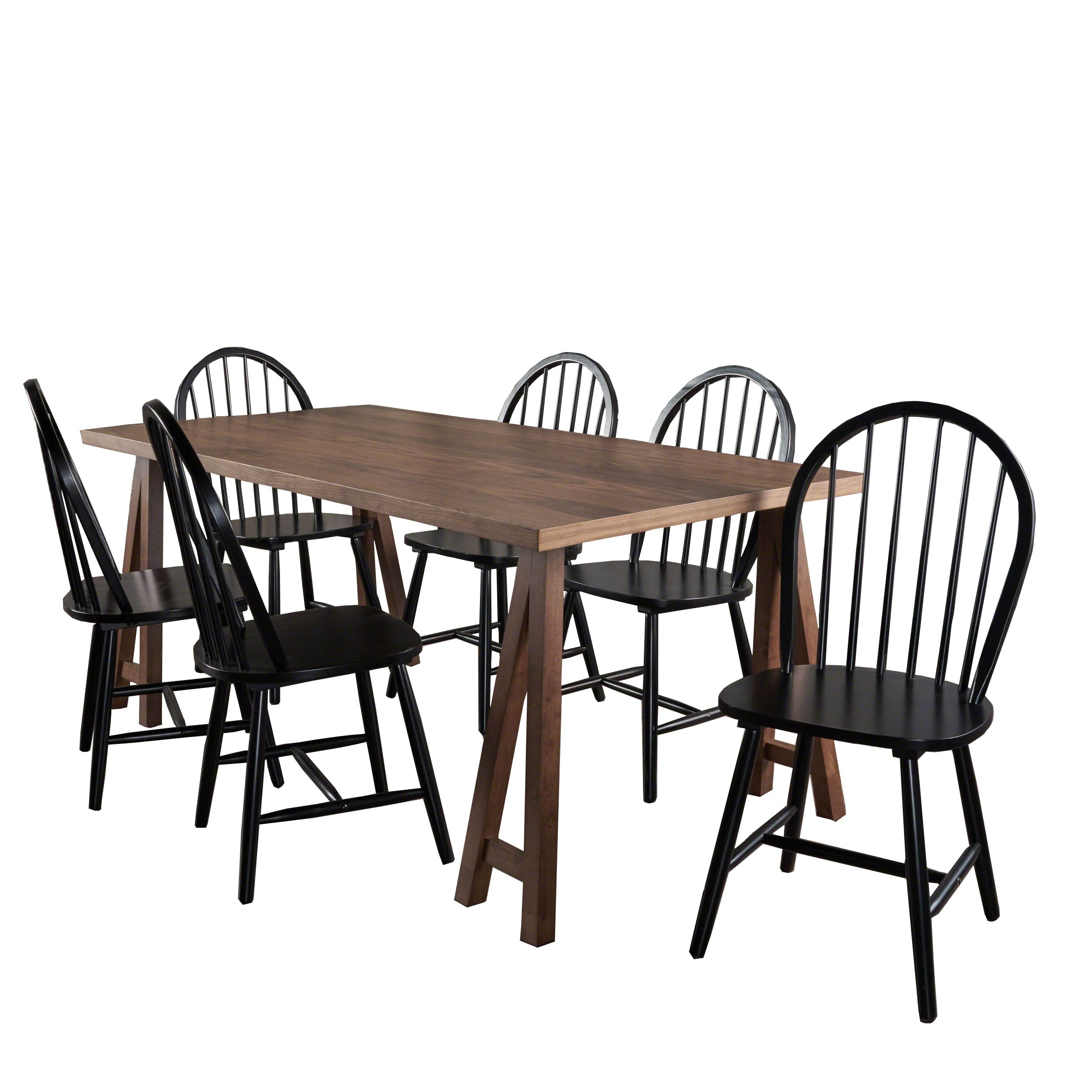 Angela Farmhouse Cottage 7 Piece Faux Wood Dining Set with Rubberwood Chairs Natural WalnutWhite