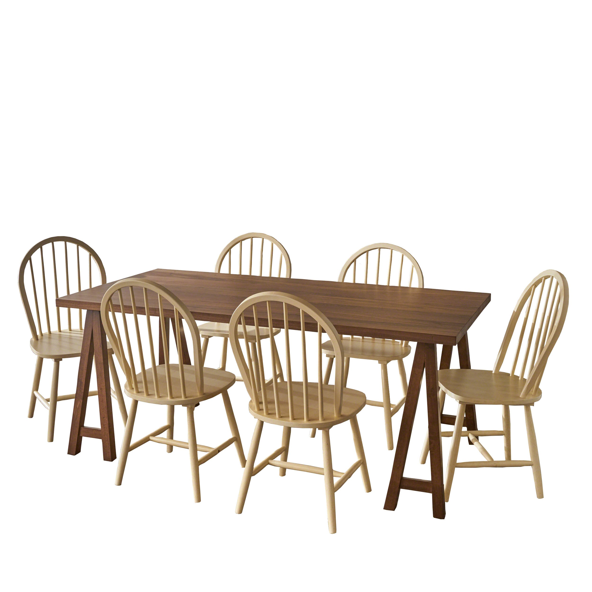 Angela Farmhouse Cottage 7 Piece Faux Wood Dining Set with Rubberwood Chairs Antique White Natural Oak