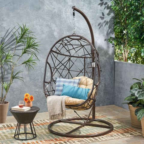 Guerneville Modern Outdoor Egg-Shaped Multi-Brown Wicker Hanging Swing Chair