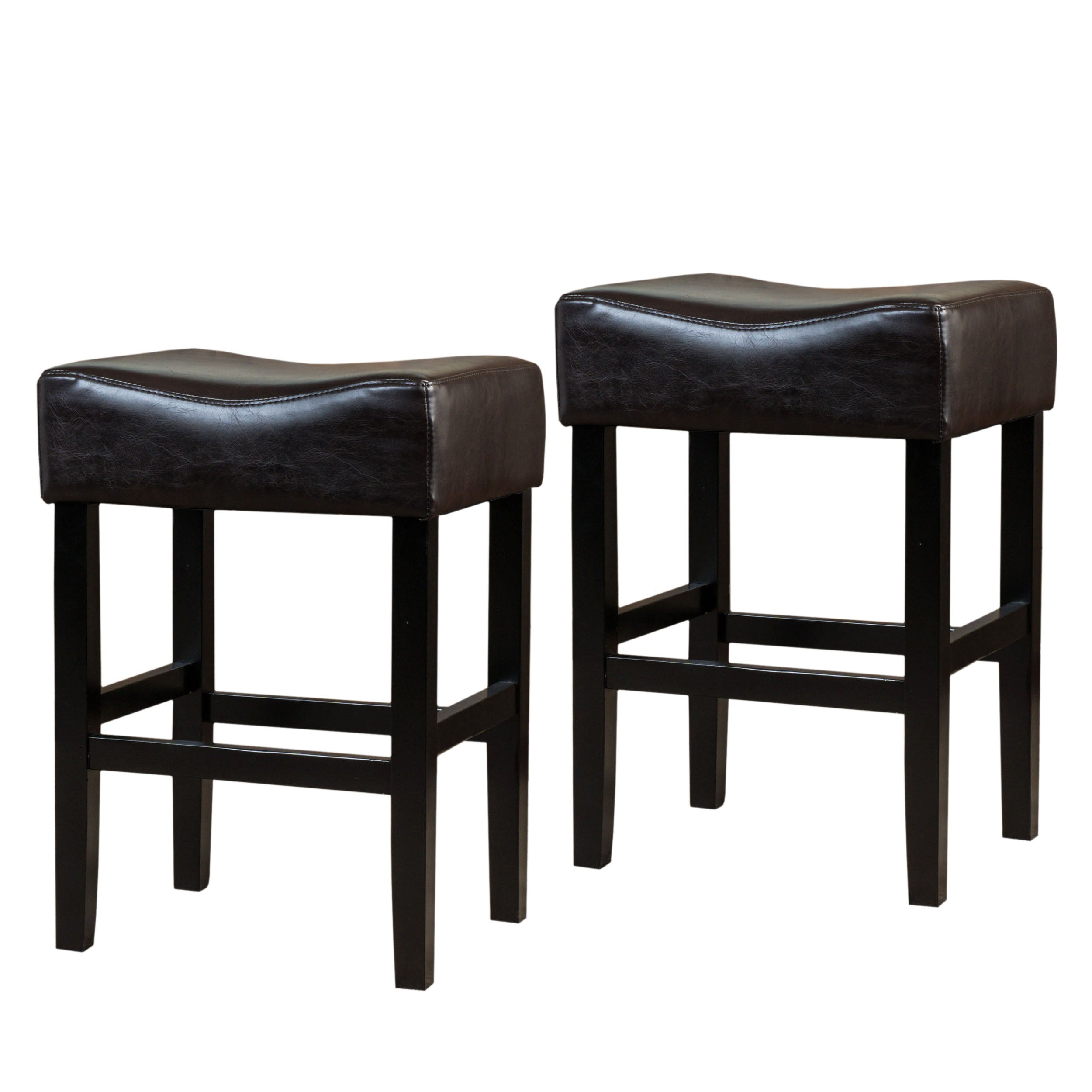 Adler 26 Inch Brown Leather Backless Counter Stool Set of 2