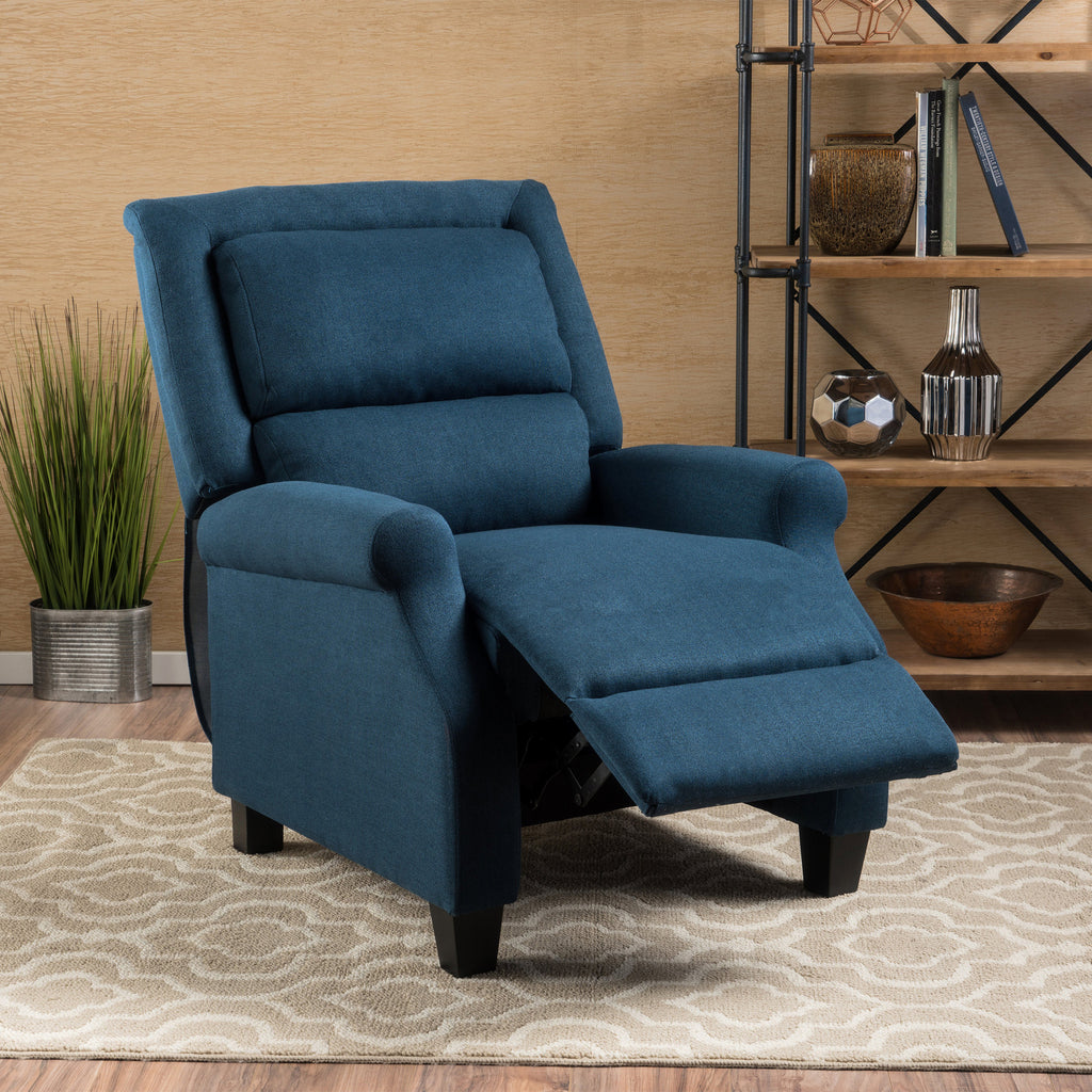 Monica Dark Blue Fabric Recliner Gdf Studio