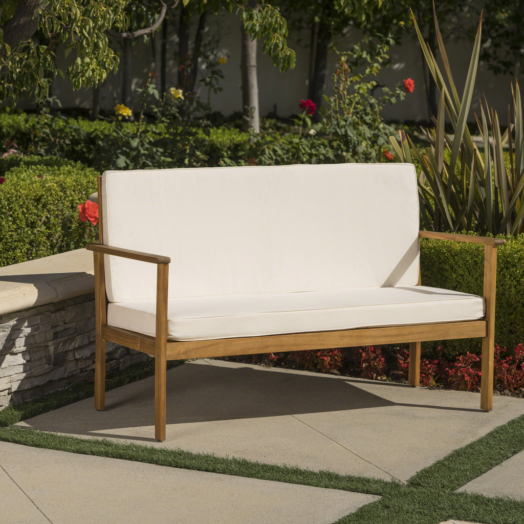 Luna Outdoor Finished Acacia Wood Bench with Water Resistant Fabric Cushion