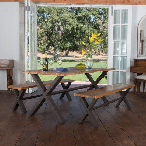 Jasper Teak Finish Acacia Wood Dining Set