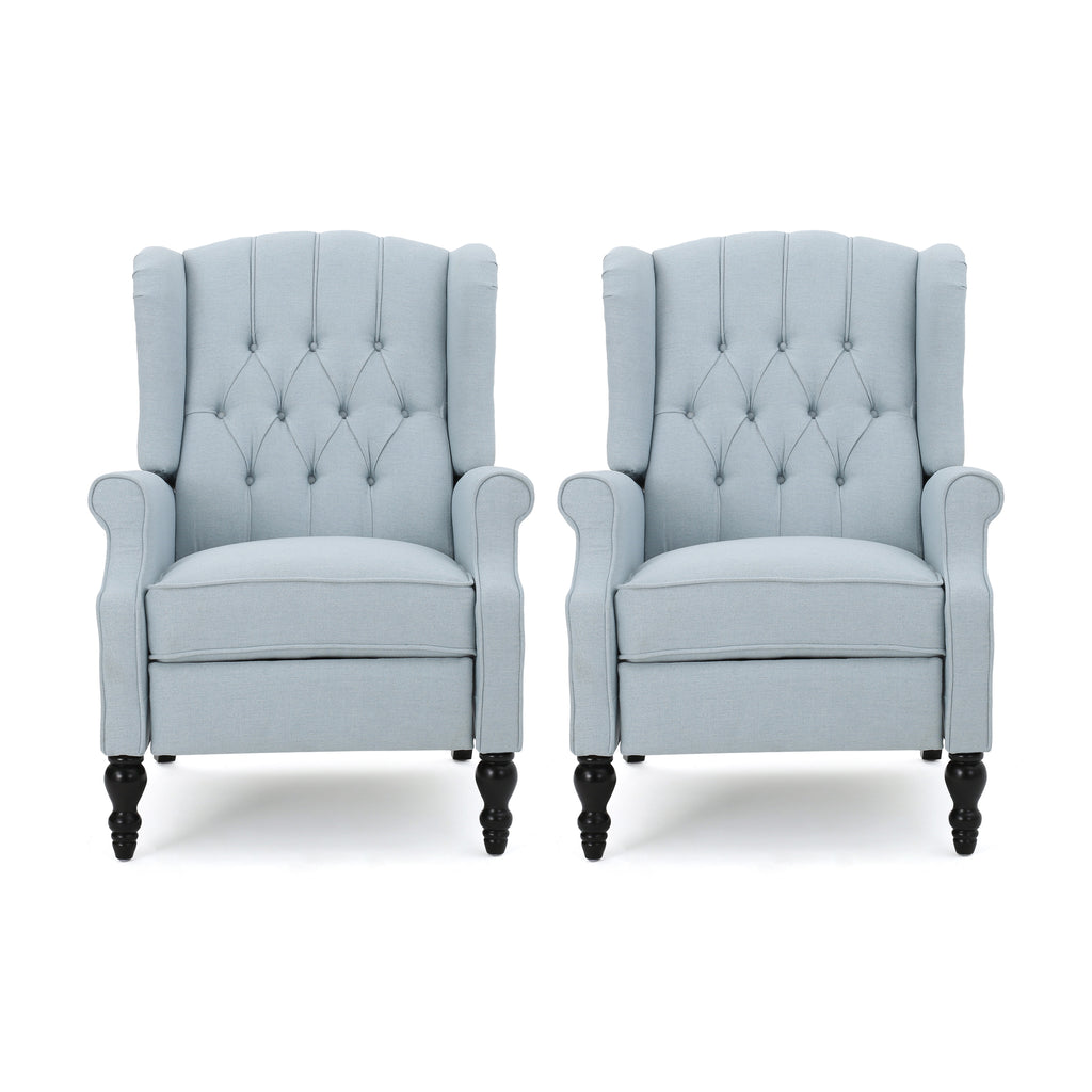 Elizabeth Contemporary Tufted Fabric Recliner (Set of 2)