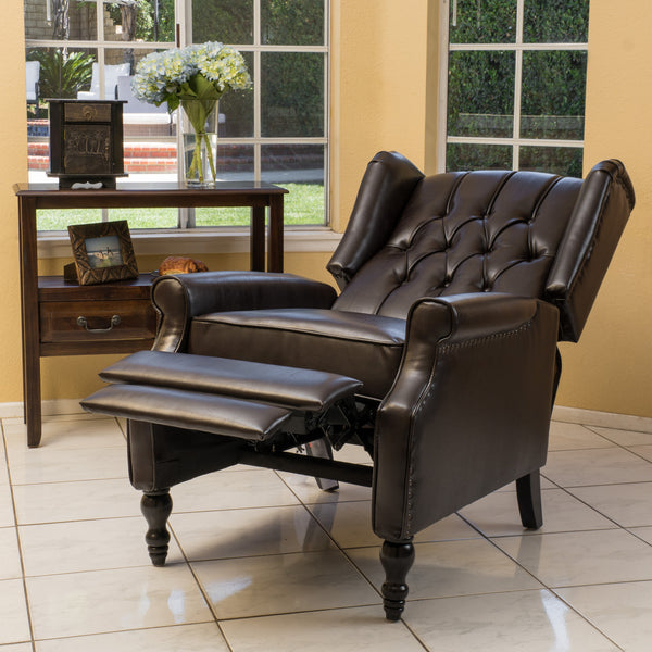 Temzyl Contemporary Brown Leather Recliner Chair Gdf Studio
