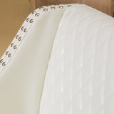 Filton Contemporary Quilted Ivory Leather Counterstool with Nailhead Accents