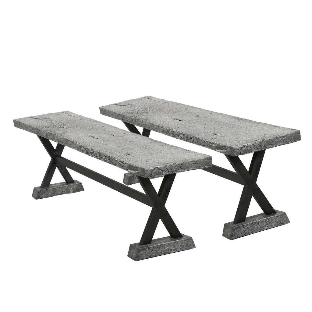 Lavelle Farmhouse Distressed Gray Lightweight Concrete Dining Benches (Set of 2)