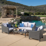 Caspian 5pc Outdoor Grey Wicker Sofa Set