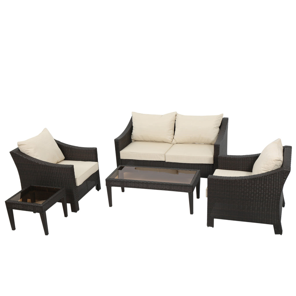Alfarin Outdoor 5-piece Wicker Chat Set with Cushions