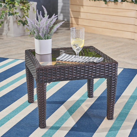 Jermaine Outdoor Brown Wicker Side Table