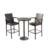 Stetta Outdoor 3 Piece Round Multi-brown Wicker Bar Set