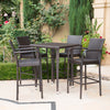 Valkyrien Outdoor 5 Piece Multi-brown Wicker Square Bar Table Set