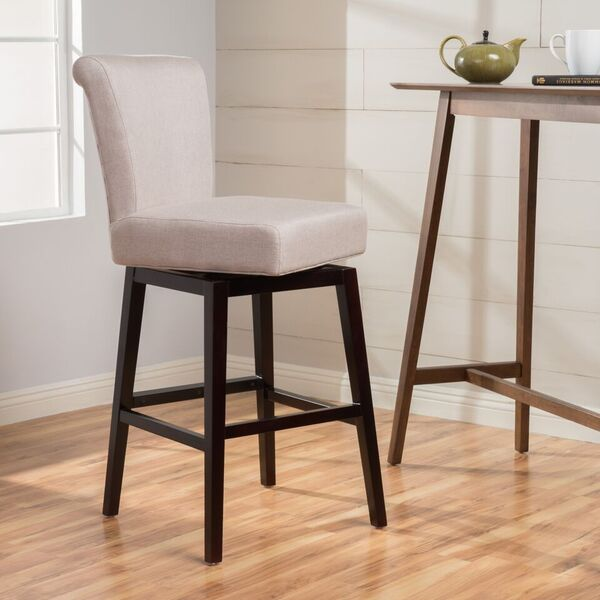 Tristan 28 Inch Fabric Swivel High Back Counter Stool