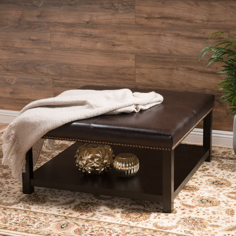 Kelapith Contemporary Leather Ottoman Brown Bench w/ Rack