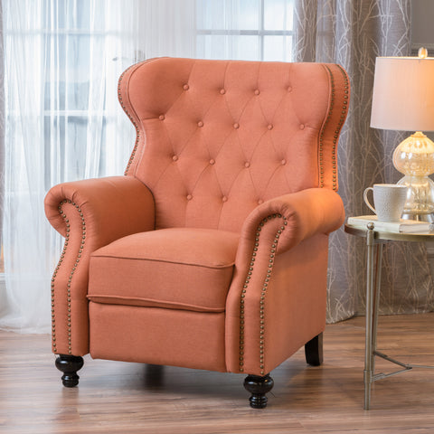 Waldo Tufted Back Studded Accent Recliner Armchair