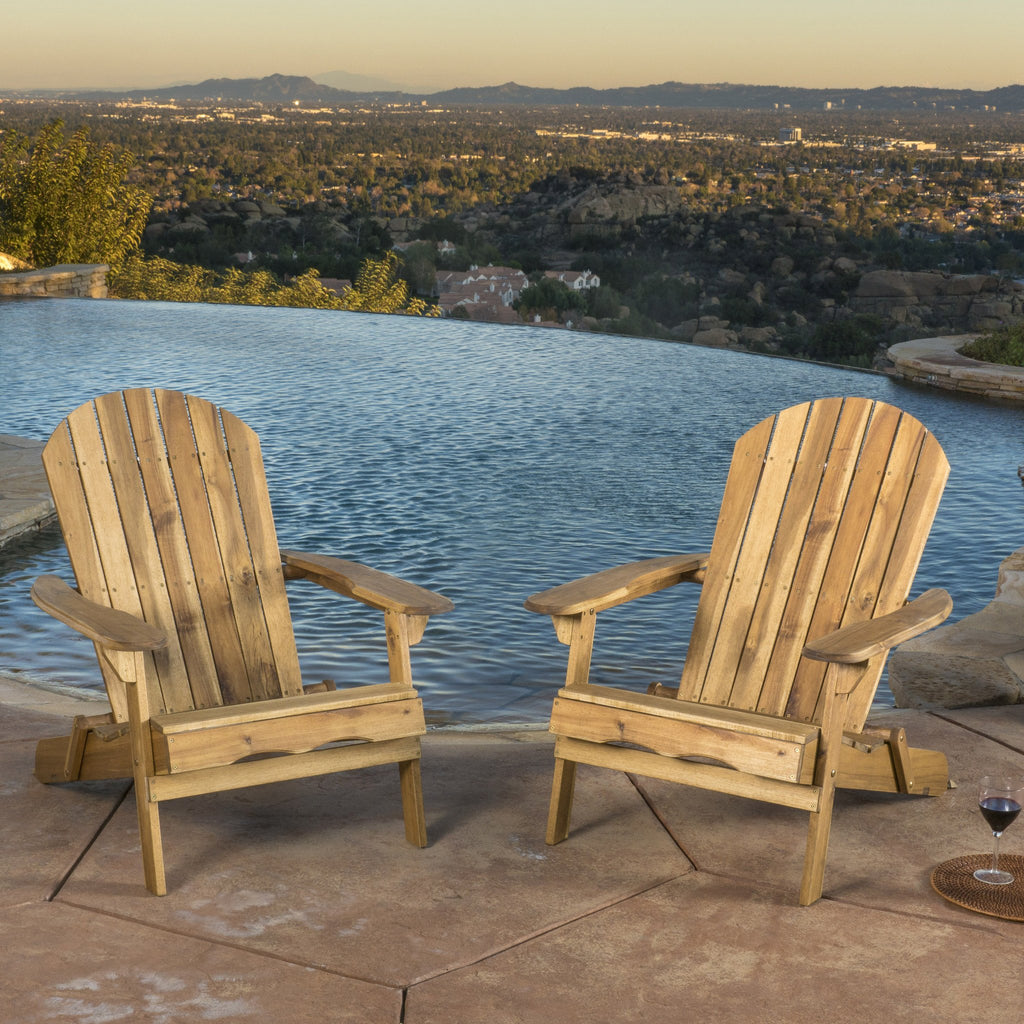 Katherine Outdoor Reclining Wood Adirondack Chair with Footrest (Set of 2)