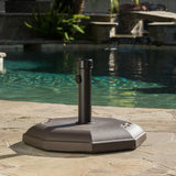 66lb Brown Octagonal Concrete Umbrella Holder