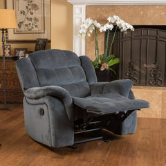 Emryka Contemporary Gray Fabric Glider Recliner