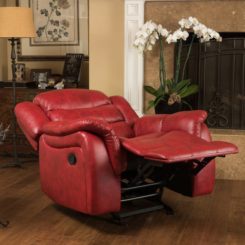 Hidal Contemporary Red Glider Recliner Chair